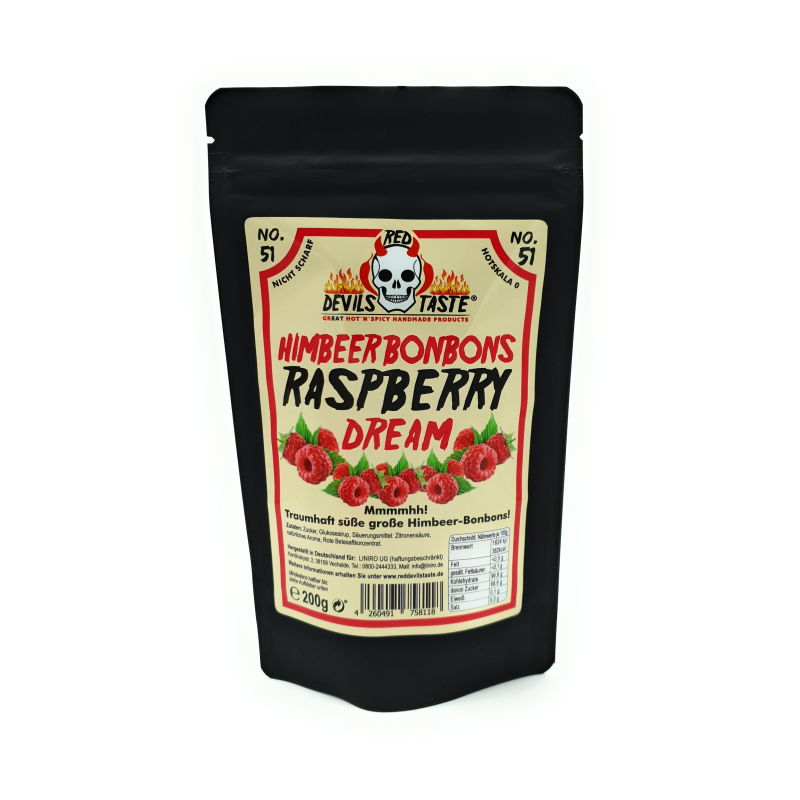 Himbeer Bonbons Raspberry Dream - 200g - Hotskala: 0- RED DEVILS TASTE